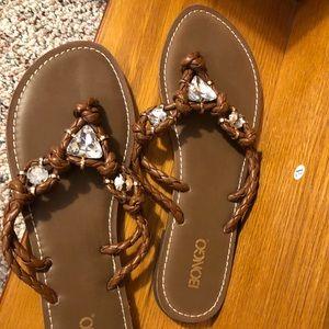 Bongo brown jeweled flip flops